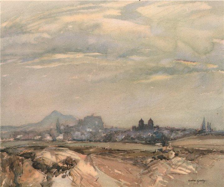 Associate Product EDINBURGH. Edinburgh from the west. Scotland. By Andrew Gamley 1952 old print
