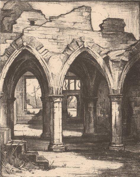 Associate Product BALMERINO. The Abbey. Fife. Scotland. By Stewart Carmichael 1952 old print