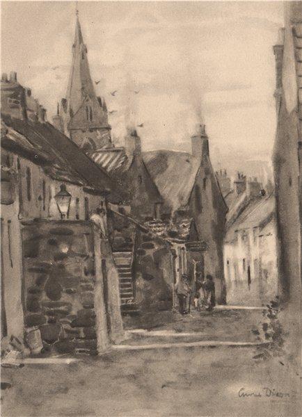 Associate Product FALKLAND. Cross Wynd. Fife. Scotland. By Anna Dixon 1952 old vintage print