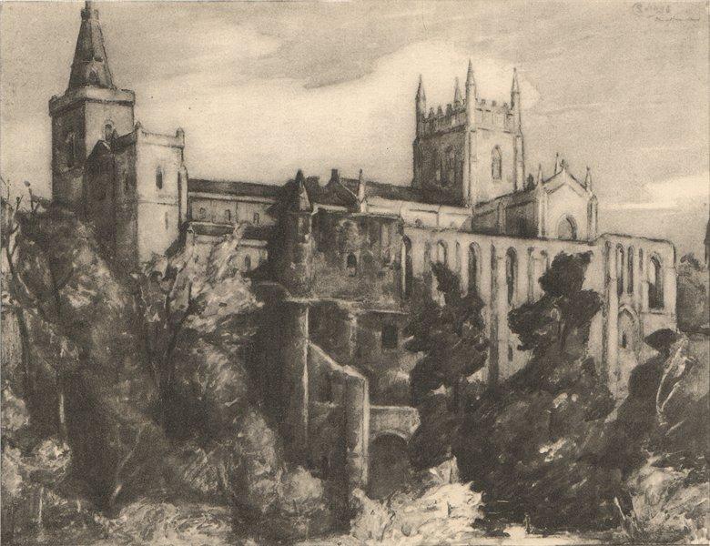 Associate Product DUNFERMLINE. The Abbey. Fife. Scotland. By Stewart Carmichael 1952 old print