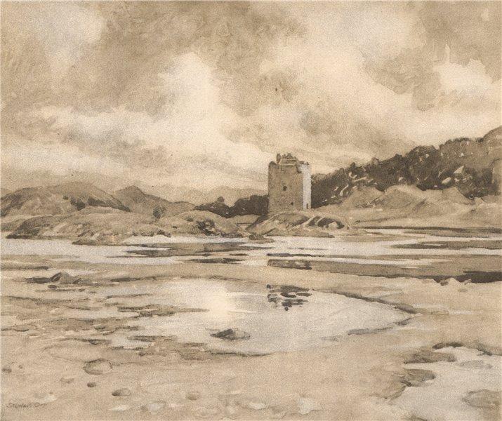 Associate Product APPIN. Castle Stalker. Highlands. Scotland. By Stewart Orr 1952 old print