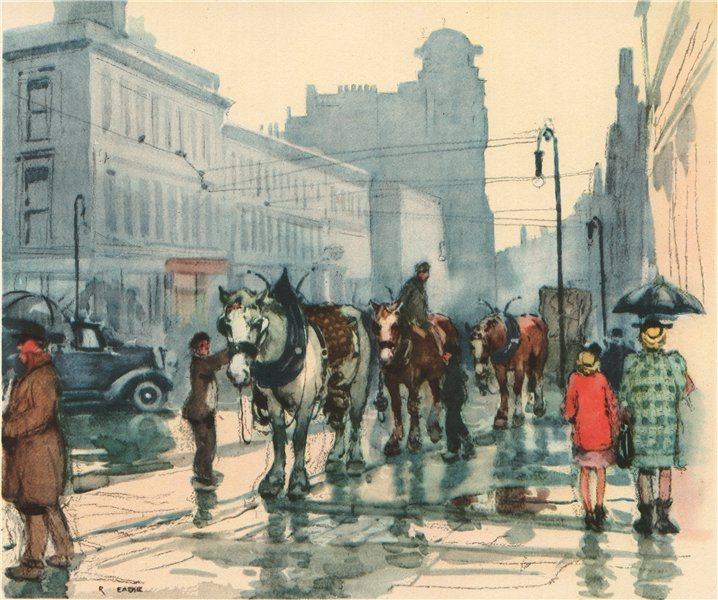 Associate Product GLASGOW. Trace Horses. Scotland. By Robert Eadie 1952 old vintage print