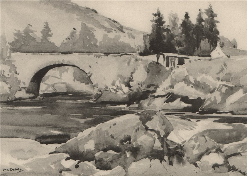 Associate Product INVERNESS-SHIRE. Bridge of Fasnakyle. Scotland. By Albert C. Dodds 1952 print