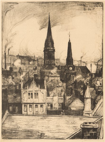 Associate Product DUNDEE. View from the Old steeple. Scotland. By Stewart Carmichael 1952 print