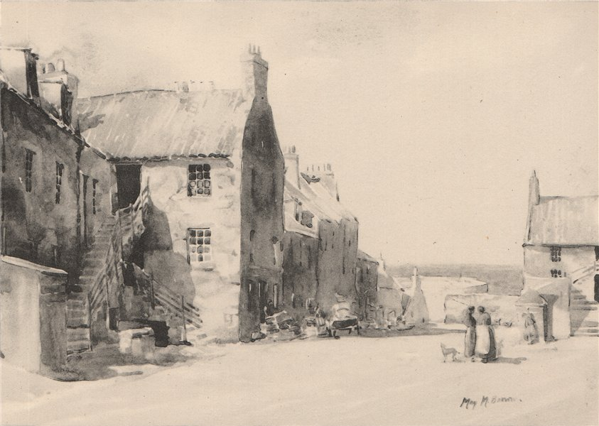 DUNBAR. Cat Row. Scotland. By May M. Brown 1952 old vintage print picture