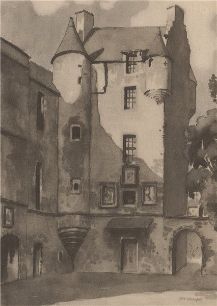 Associate Product FERNIEHIRST. Ferniehirst Castle. Scotland. By James Wright 1952 old print