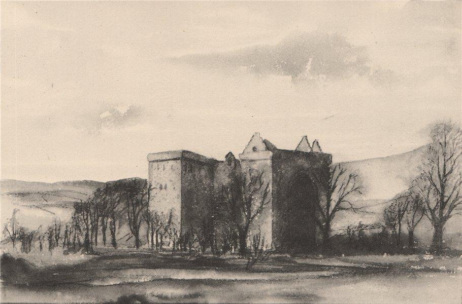 Associate Product HERMITAGE CASTLE. View of the castle. Scotland. By Majorie E Borthwick 1952