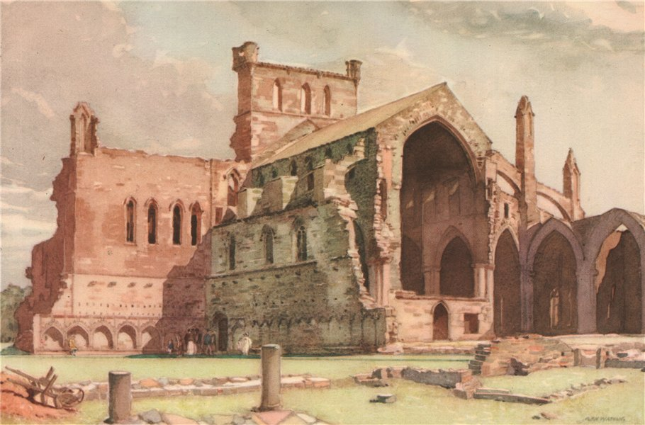 Associate Product MEDLROSE. Melrose Abbey. Scotland. By G. P. H. Watson 1952 old vintage print