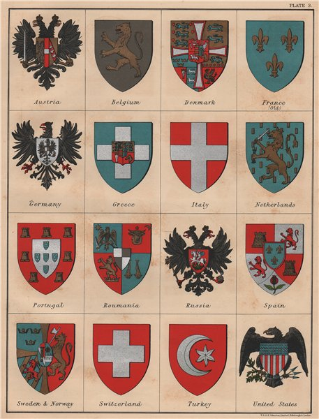Associate Product NATIONAL ARMS. Austria Russia US Spain Germany France Turkey Italy &c 1906 map