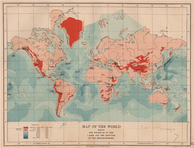 Associate Product WORLD RELIEF. Mountain heights. Ocean depths. JOHNSTON 1906 old antique map