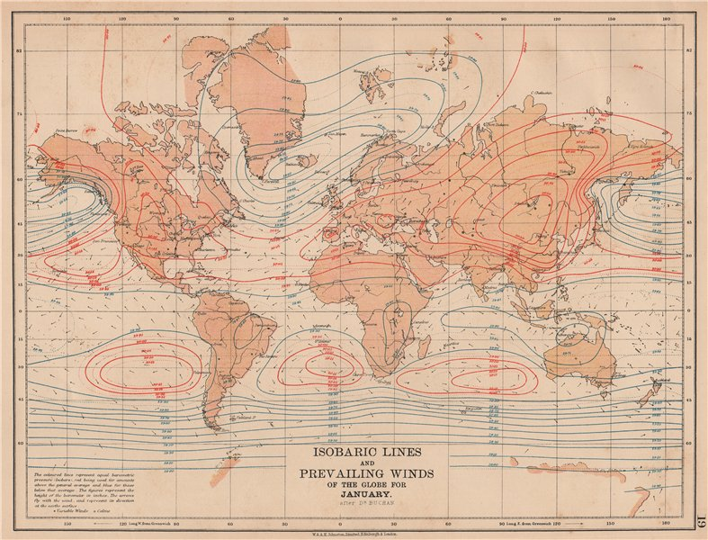 Associate Product WORLD.Isobaric lines & Prevailing Winds of the Globe.January.JOHNSTON 1906 map