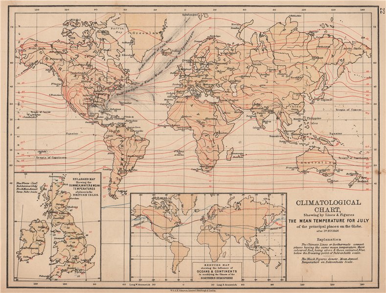 Associate Product WORLD CLIMATE. July temperature. Summer/winter Europe. JOHNSTON 1906 old map