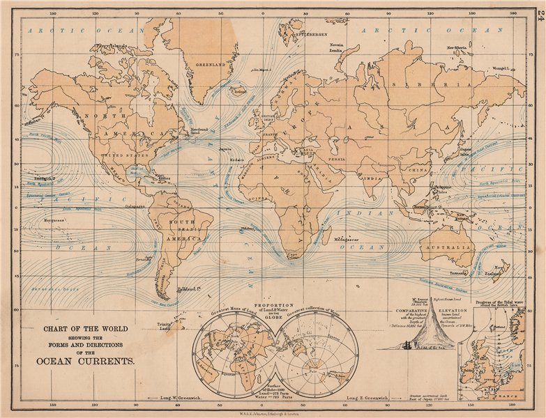 Associate Product WORLD OCEAN CURRENTS. Shows progress of North Sea tidal wave. JOHNSTON 1906 map