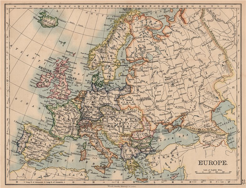 Associate Product EUROPE POLITICAL. Austria-Hungary. United Sweden & Norway. JOHNSTON 1906 map
