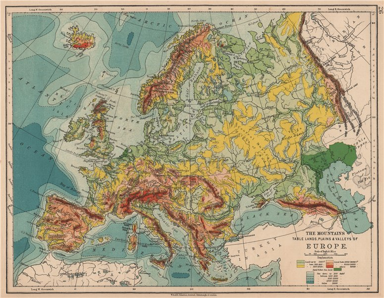 Associate Product EUROPE RELIEF. Mountains Table lands Plains Valleys. JOHNSTON 1906 old map