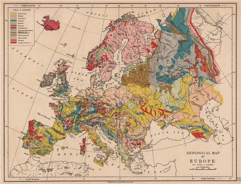Associate Product EUROPE GEOLOGICAL. Quaternary Tertiary Cretaceous Jurassic &c JOHNSTON 1906 map