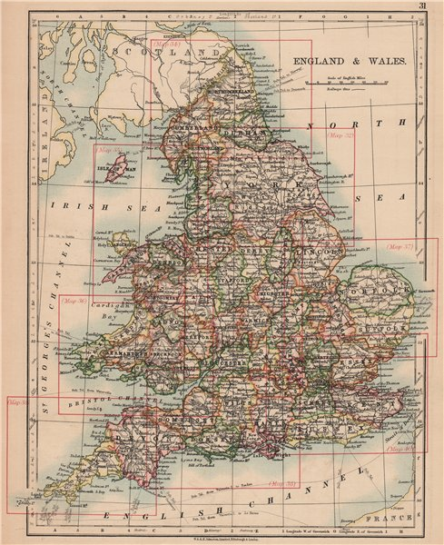 Associate Product ENGLAND AND WALES. Counties. Westmorland. Telegraph cables. JOHNSTON 1906 map