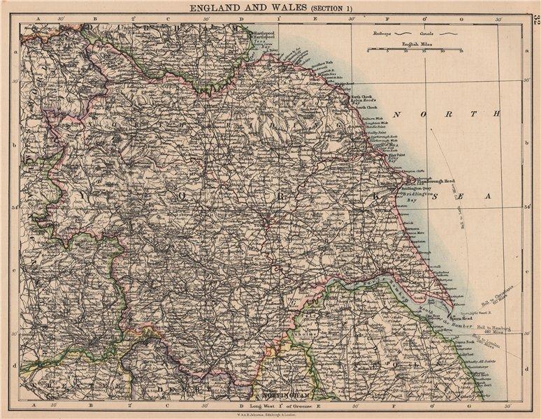 YORKSHIRE. North West England. Humber estuary. JOHNSTON 1906 old antique map