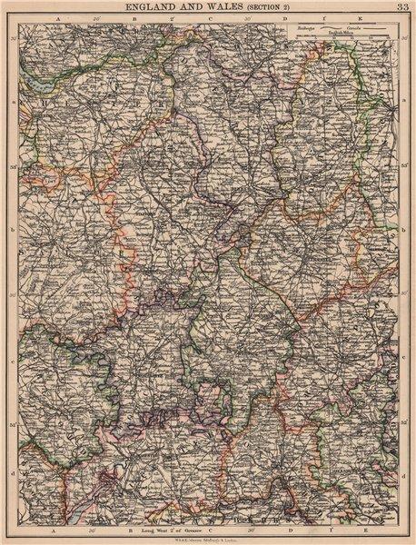 Associate Product ENGLAND MIDLANDS. Warcs Worcs Leics Staffs Derbys Notts. JOHNSTON 1906 old map