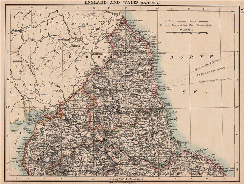 Associate Product NORTHERN ENGLAND. Cumberland Northumberland Durham Westm. JOHNSTON 1906 map