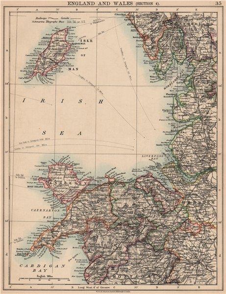 Associate Product NW ENGLAND & WALES COAST.Merseyside Irish Sea Morecambe Bay Deeside IOM 1906 map