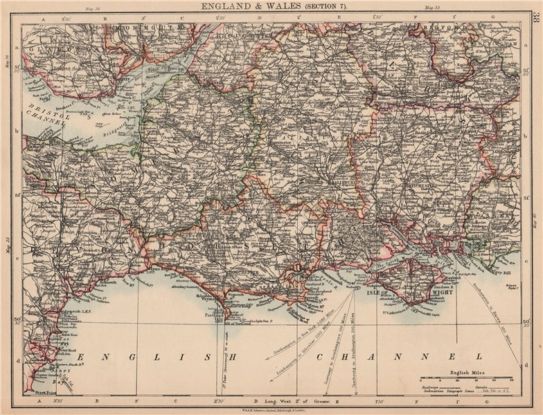 Associate Product ENGLAND SOUTH. Dorset Somerset Wiltshire Hampshire Severn estuary 1906 old map