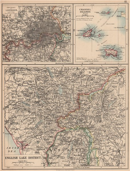Associate Product ENGLISH LAKE DISTRICT also London environs & Channel Islands. JOHNSTON 1906 map