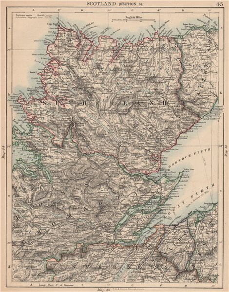 Associate Product SCOTTISH HIGHLANDS. Sutherland Ross Cromarty Caithness Moray Firth 1906 map