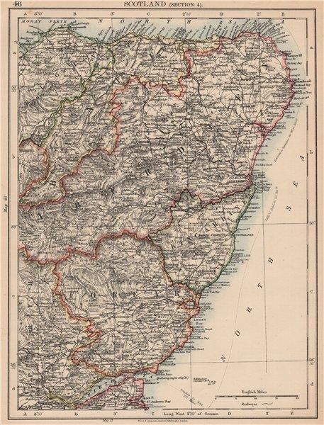 Associate Product SCOTLAND NE. Aberdeenshire Banff Forfar Kincardine Elgin. JOHNSTON 1906 map