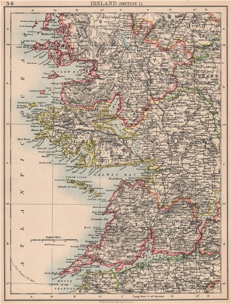 Associate Product IRELAND WEST COAST. Galway Mayo Clare. River Shannon. JOHNSTON 1906 old map