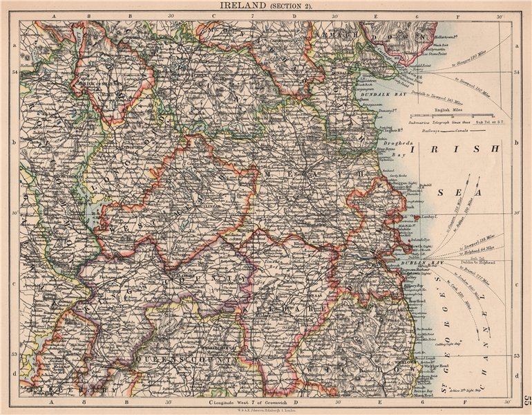 Associate Product IRELAND EAST.Dublin Meath Cavan Kildare Longford King's County.JOHNSTON 1906 map