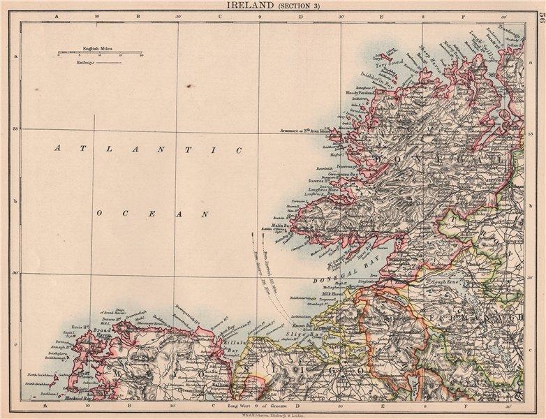 Associate Product IRELAND NORTH WEST COAST.Donegal Mayo Sligo Leitrim Fermanagh.JOHNSTON 1906 map