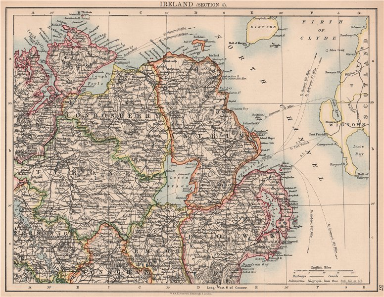 IRELAND NORTH EAST. Ulster. Tyrone Londonderry Antrim Down Armagh 1906 old map