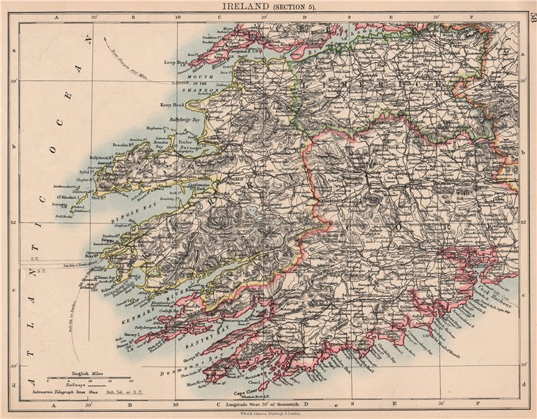 Map Of West Of Ireland.Details About Ireland South West Kerry Cork Limerick Killarney Munster Johnston 1906 Map