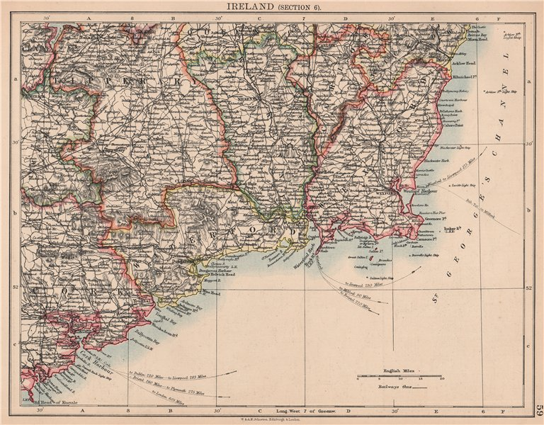 Associate Product IRELAND SOUTH EAST. Wexford Waterford Kilkenny Tipperary. JOHNSTON 1906 map