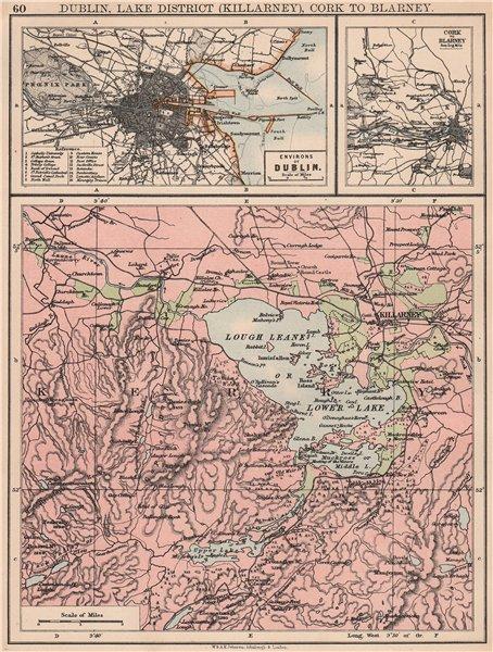 Associate Product IRELAND. Dublin, Lake District (Killarney) Cork to Blarney. JOHNSTON 1906 map