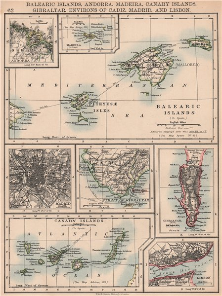 IBERIA. Balearic/Canary Islands Andorra Madeira Gibraltar Madrid Lisbon 1906 map