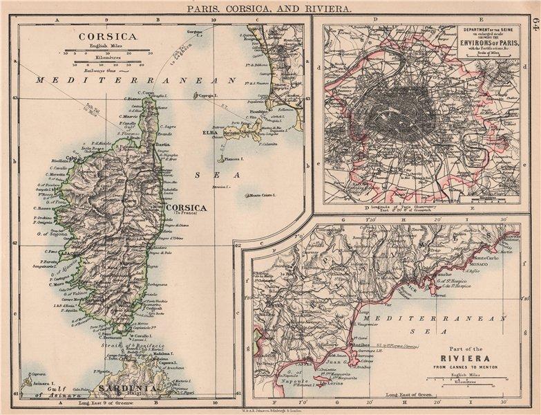 Associate Product FRANCE.Paris Corsica & Riviera.Ile de France Côte d'Azur(Cannes-Menton) 1906 map
