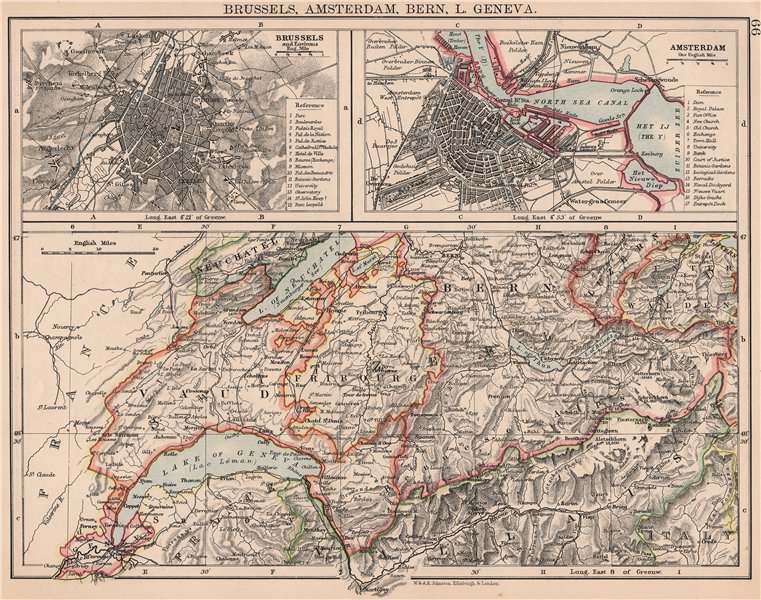 WESTERN SWIZERLAND BRUSSELS AMSTERDAM. Berne Vaud Geneva Fribourg 1906 old map