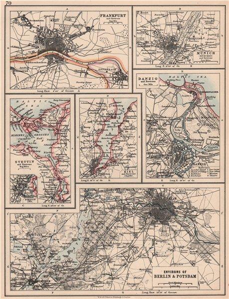 Associate Product GERMAN/PRUSSIAN CITIES.Frankfurt Munich Szczecin Kiel Danzig Berlin 1906 map
