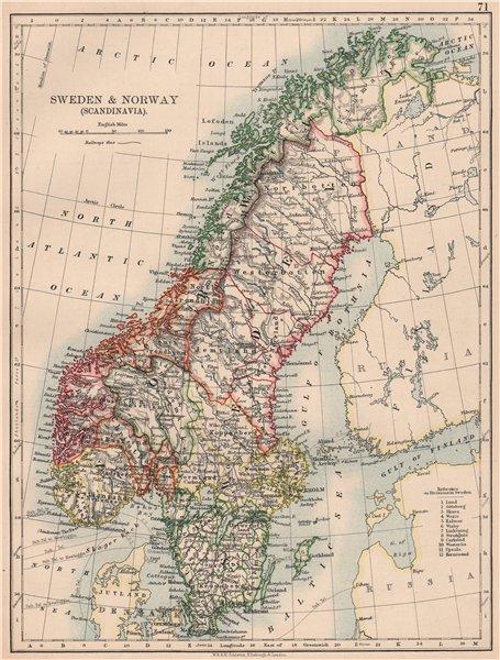 Associate Product SCANDINAVIA.Sweden Norway.Railways Undersea Telegraph cables.JOHNSTON 1906 map