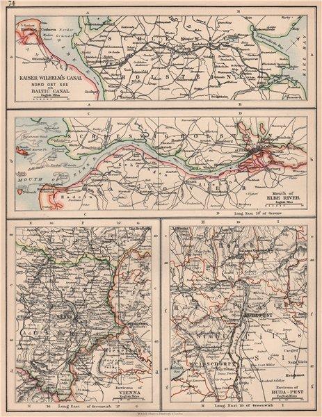 Associate Product SCHLESWIG WATERWAYS. C EUROPE CITIES. Kiel Canal Elbe Vienna Budapest 1906 map