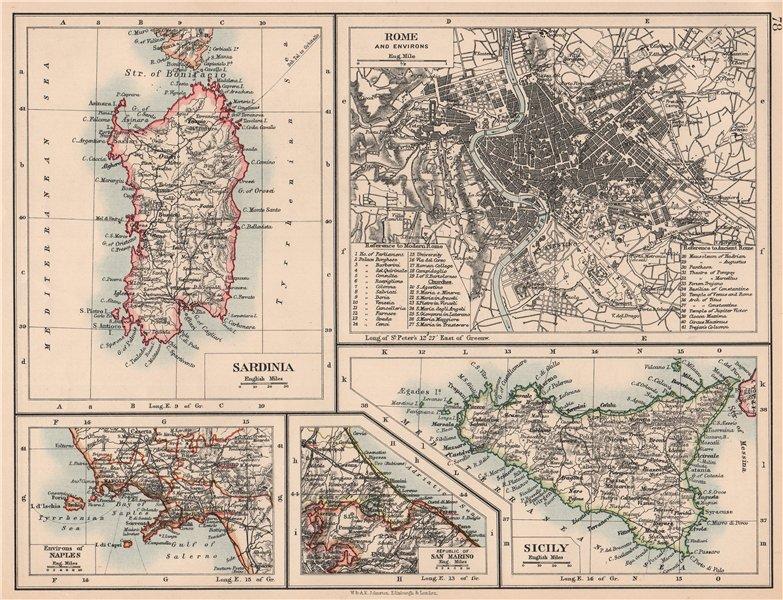 Associate Product ITALY CITIES & ISLANDS.Sardinia Rome Naples San Marino Sicily.JOHNSTON 1906 map