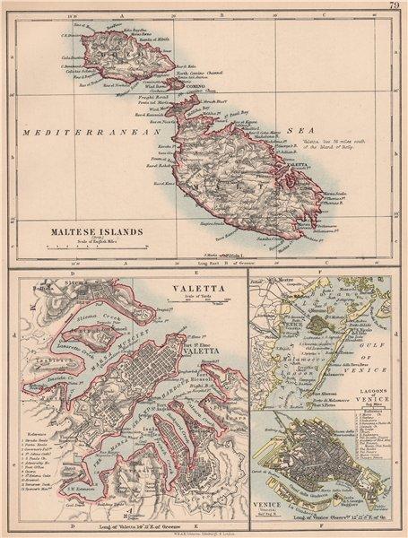 Associate Product MALTESE ISLANDS & VENICE.Valetta & Venezia town plans.Lagoons.JOHNSTON 1906 map