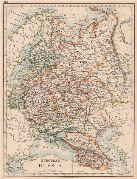 Associate Product EUROPEAN RUSSIA. Shows Great/Little/West/South Russia. Poland. JOHNSTON 1906 map