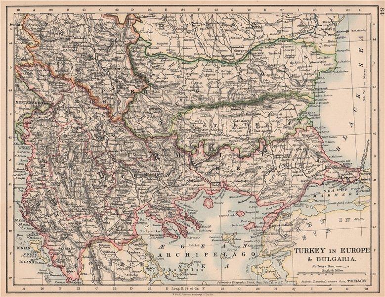 Associate Product TURKEY IN EUROPE & BULGARIA. Rumili East Rumelia Balkans. JOHNSTON 1906 map