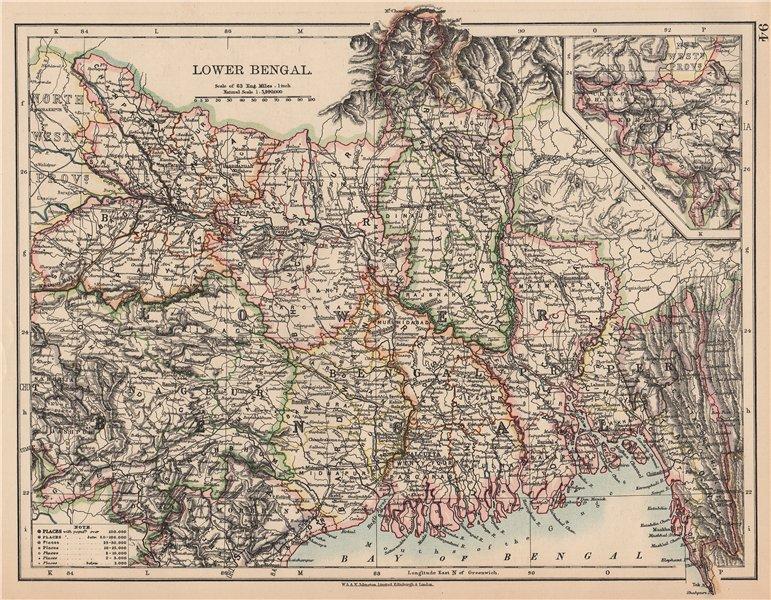 Associate Product BRITISH INDIA NE.Lower Bengal.Nagpur Bihar Rajshah Sikkim Bardwan.Rail 1906 map
