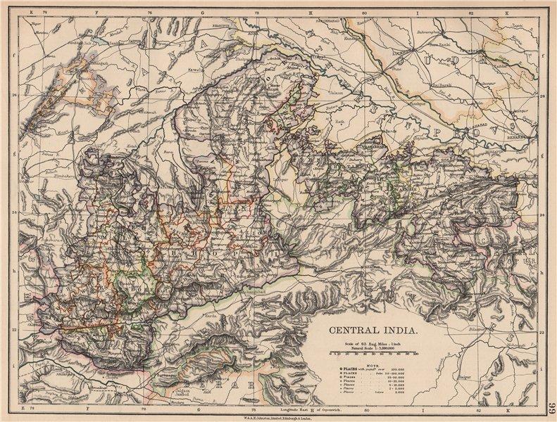 Associate Product BRITISH INDIA.Central.Bhopal Malwa Indore Manipur Gwalior &c.Railways 1906 map