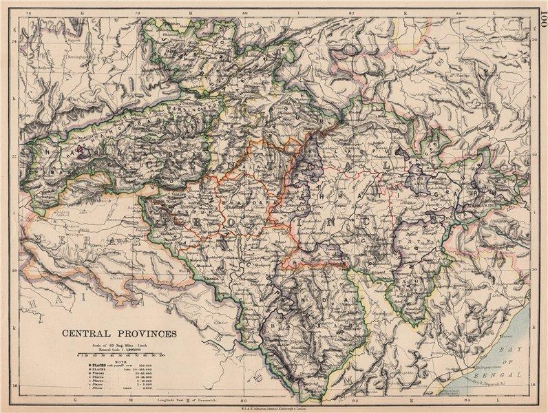 Associate Product BRITISH INDIA. Central Provinces. Railways. JOHNSTON 1906 old antique map