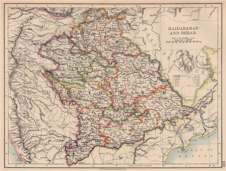 BRITISH INDIA EAST. Hyderabad & Berar. Railways. JOHNSTON 1906 old antique map